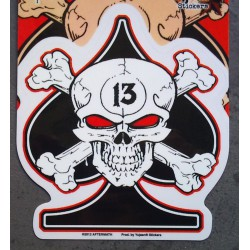 sticker as de pique noir crane pirate 13 autocollant biker