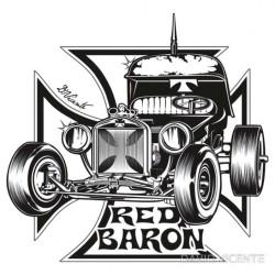 sticker david vicente red baron hot rod et croix de malte