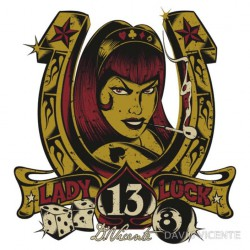 sticker david vicente fer a cheval lady luck pin up  chance