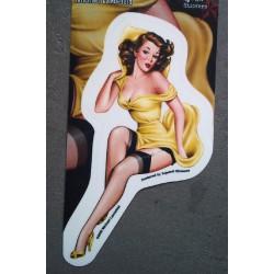 sticker pin up robe jaune styke retro année 50 autocollant