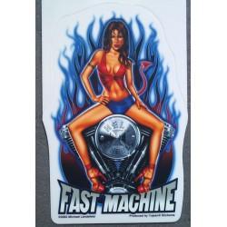 sticker pin up sexy brune moteur HD fast machine autocollant