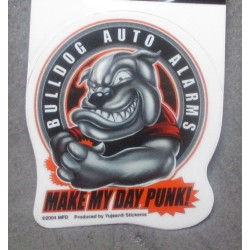 min sticker bulldog auto alarms autocollant rock roll chien