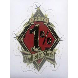 sticker david vicente 1% rouge biker motard autocollant hell