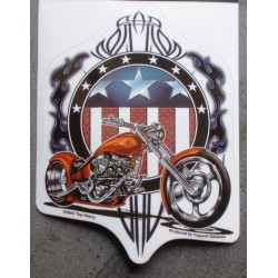 sticker american chopper moto orange autocollant biker