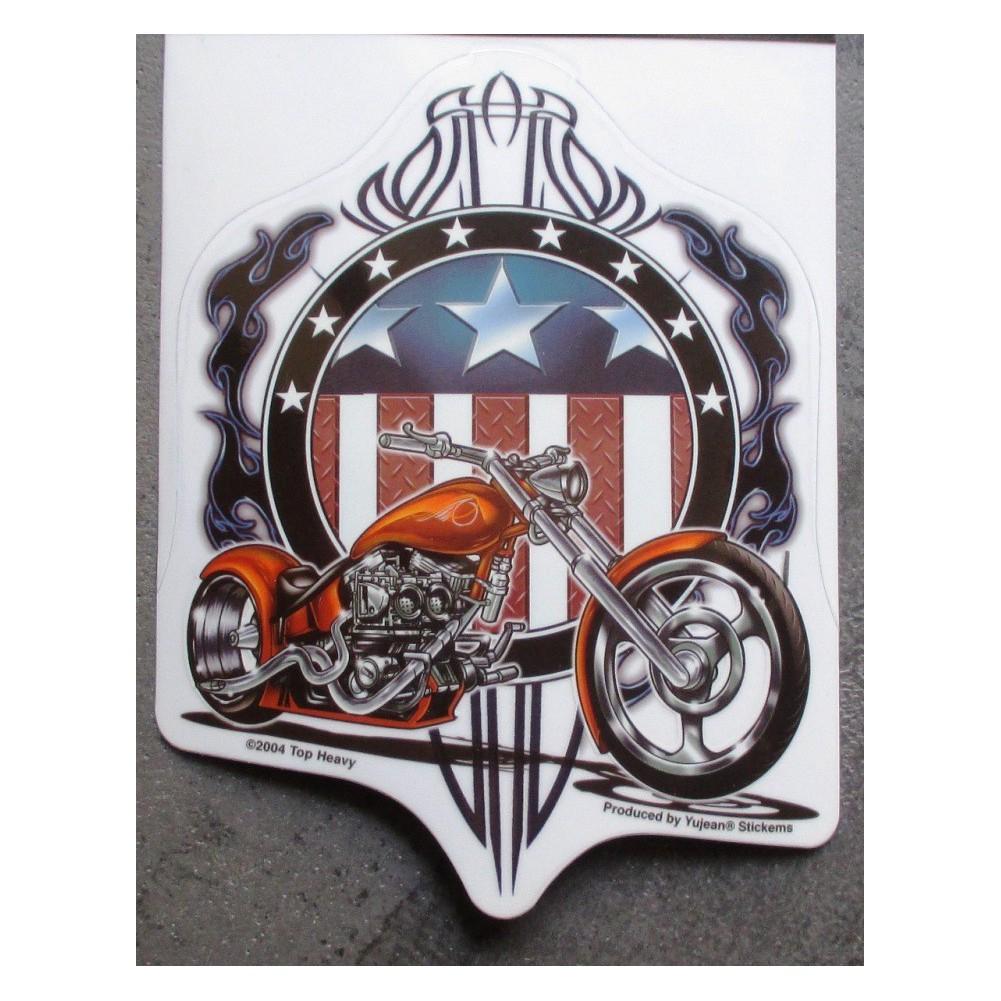 Sticker american chopper moto orange autocollant biker