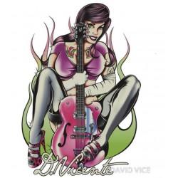 sticker david vicente pin up et guitare rose  autocollan