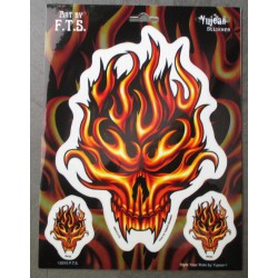 1 planche de 3 sticker crane en flammes autocollant flamming