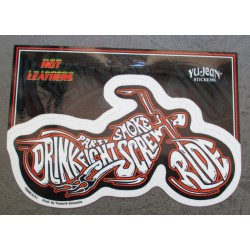 sticker moto drink fight ride screw biker autocollant