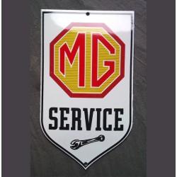 mini plaque emaillée MG service 15x9 cm tole email auto