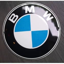 mini plaque emaillée bmw logo rond tole email deco garage