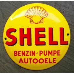 mini plaque emaillée shell jaune ronde tole email  essence