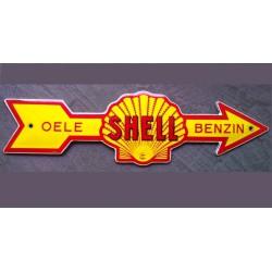 mini plaque emaillée shell fleche jaune benzin tole email