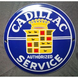 mini plaque emaillée cadillac authorized service tole email