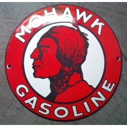 mini plaque emaillée mohawk gasoline tete indien rouge tole