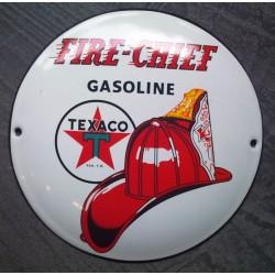 mini plaque emaillée texaco fire chief gasoline pompier tole