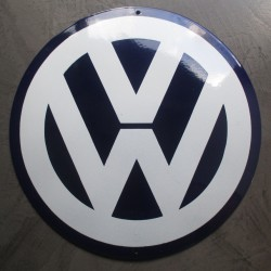 grosse plaque emaillée VW  logo bombé 40cm tole garage
