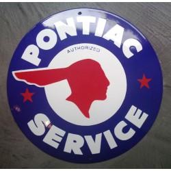 grosse plaque emaillée pontiac 40cm tole logo bleu indien