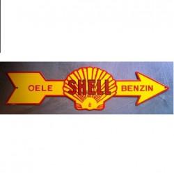 grosse plaque emaillée fleche shell 71cm tole huile essence
