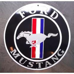 grosse plaque emaillée ford mustang bombé 40cm tole garage