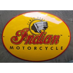 grosse plaque emaillée indian motorcycle jaune tole moto pub