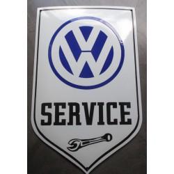 grosse plaque emaillée VW service blanc 60cm tole garage