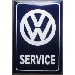 grosse plaque emaillée VW service rect bleu tole 60x40cm