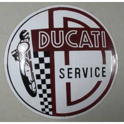 grosse plaque emaillée ducati service ronde 40cm tole garage