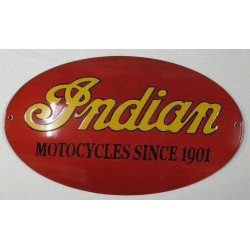 grosse plaque emaillée indian motorcycle rouge tole garage