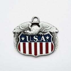 pendentif aigle tenant blason des USA  homme femme biker