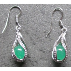 paire boucle d'oreille pin up jade vert rockabilly classe
