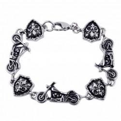 bracelet moto et blason fleur de lys inox biker motard rock