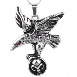 pendentif inox aigle oeil rouge et crane biker tete de mort