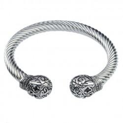 bracelet ouvert 2 crane tribal en inox homme femme biker