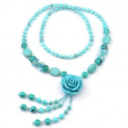 collier rose turquoise pin up rockavilly style retro vintage