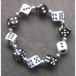 bracelet dé noir et blanc elastique rockabilly pin up