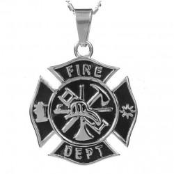 pendentif inox pompier fire dept logo usa homme femme