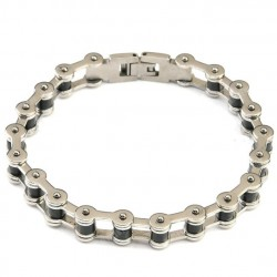 bracelet chaine moto simple inox noir biker homme femme