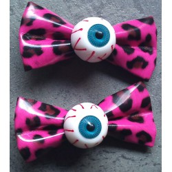 2 pince à cheveux oeil leopard rose pin up punk rockab