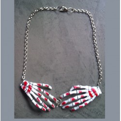 collier main squellette blanc sang pin up rockab gothique