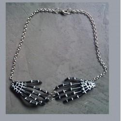 collier main squellette noir pin up rockabilly gothique punk