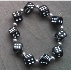 bracelet dé noir a point blanc élastique pin up rockabilly