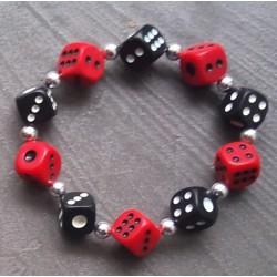 bracelet noir et rouge  élastique pin up rockabilly