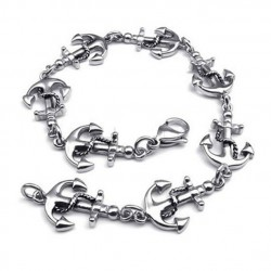 bracelet ancre marine inox pin up rockabilly femme sailor