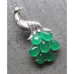 broche paon en jade et inox vert ideal pin up rockabilly