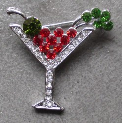 broche verre martini cocktail pin up sexy rock roll  strass
