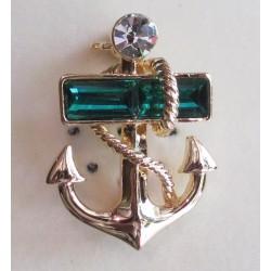 broche ancre marine verte pinup sexy rock roll strass sailor