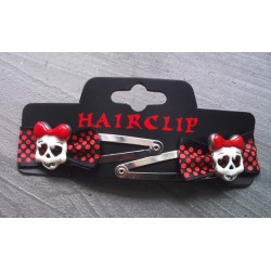 2  pince cheveux crane fillette noir rouge pin up rockabilly