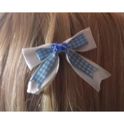 barrette cheveux vichy bleu blanc dé bleu pin up rockabilly