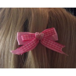 barrette cheveux vichy rose blanc dé rose pin up rockabilly