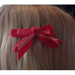 barrette cheveux tissu vichy rouge blanc dé pi up rockabilly